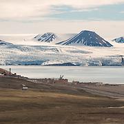 Pyramiden, Isfjorden and Nordenskioldbreen Glacier beyond.
