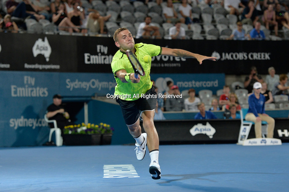 13.01.17 Sydney Olympic Park, Sydney, Australia. Dan Evans (GBR) in action against Andrey Kuznetsov (RUS) during their semi match on day 6 at the Apia International Sydney. Evans won the match 6-2,3-6,6-3.