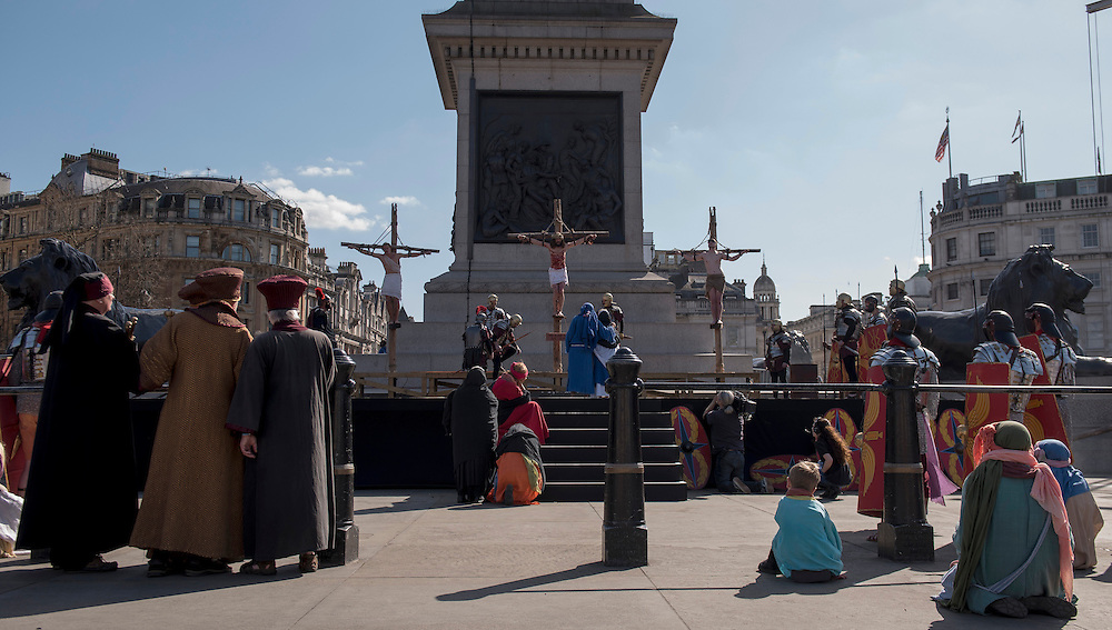 A reenactment of the Passion of Jesus Christ is performed at Trafalgar Square to mark Good Friday, in Central London, Britain, 25 March 2016. On Good Friday Christians commemorate the crucifixion of Jesus Christ. EPA/WILL OLIVER