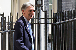 London, UK. 24 July, 2019. Chancellor of the Exchequer Philip Hammond leaves 10 Downing Street to attend the final session of Prime Minister's Questions of Theresa May's Premiership n the House of Commons.