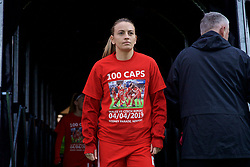 NEWPORT, WALES - Thursday, April 4, 2019: Wales' Kayleigh Green walks out of the players' tunnel, wearing a t-shirt marking 100 caps for Loren Dykes, before an International Friendly match between Wales and Czech Republic at Rodney Parade. (Pic by David Rawcliffe/Propaganda)