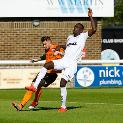 Dovers defender Moussa Diarra and Barnets defender Elliot Johnson during the National League match between Dover Athletic and Barnet FC at Crabble Stadium, Kent on 1 September 2018. Photo by Matt Bristow.