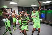 The FGR players celebrate in the dressing room during the Vanarama National League Play Off Final match between Tranmere Rovers and Forest Green Rovers at Wembley Stadium, London, England on 14 May 2017. Photo by Shane Healey.