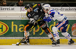 01.03.2019, Messestadion, Dornbirn, AUT, EBEL, Dornbirn Bulldogs vs EC VSV, 50. Runde, im Bild Zweikampf Michael Parks (Dornbirn Bulldogs) und Johann Lars Olaf Eriksson (EC VSV) // during the Erste Bank Eishockey League 50th round match between Dornbirn Bulldogs and EC VSV at the Messestadion in Dornbirn, Austria on 2019/03/01. EXPA Pictures © 2019, PhotoCredit: EXPA/ Peter Rinderer