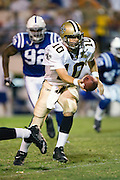 JACKSON, MS - AUGUST 26:  Quarterback Jamie Martin of the New Orleans Saints prepares to hand off the football during a game against the Indianapolis Colts on August 26, 2006 at Veterans Memorial Stadium in Jackson, Mississippi.  The Colts won 27 to 14.  (Photo by Wesley Hitt/Getty Images) *** Local Caption *** Jamie Martin