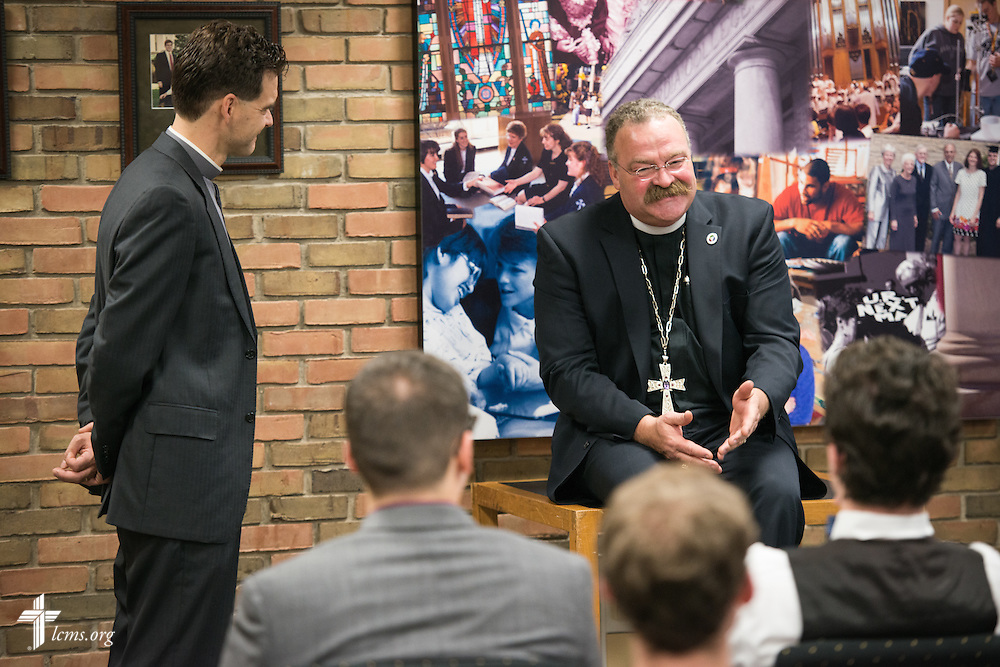 The Rev. Dr. Matthew C. Harrison, president of The Lutheran Church–Missouri Synod, meets with Pre-Seminary Program students during a brief meeting on the university campus in River Forest, Ill., on Sunday, Oct. 12, 2014. To the left of Harrison is the Rev. Dr. Jeffrey Leininger, Concordia University Chicago campus pastor and pre-seminary director. LCMS Communications/Erik M. Lunsford
