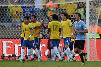 Fotball<br /> 26.06.2013<br /> Confederations Cup<br /> Semifinale<br /> Brasil v Uruguay<br /> Foto: imago/Digitalsport<br /> NORWAY ONLY<br /> <br /> Julio Cesar hält Elfmeter von Diego Forlan