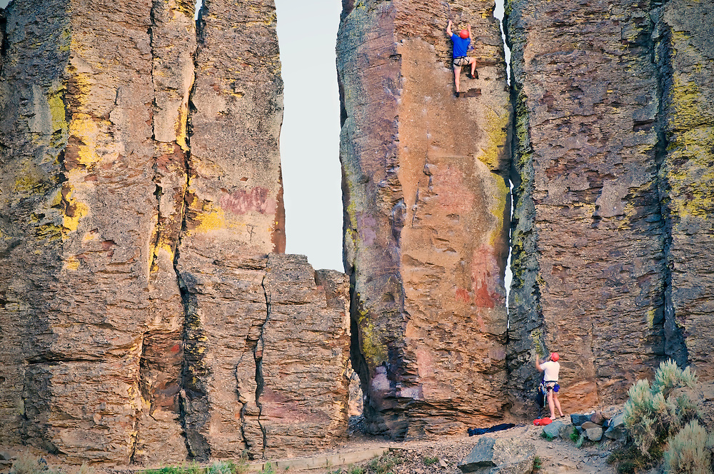 "Climbers at the ""Feathers"" which are tall basalt columns in Frenchman Coulee."
