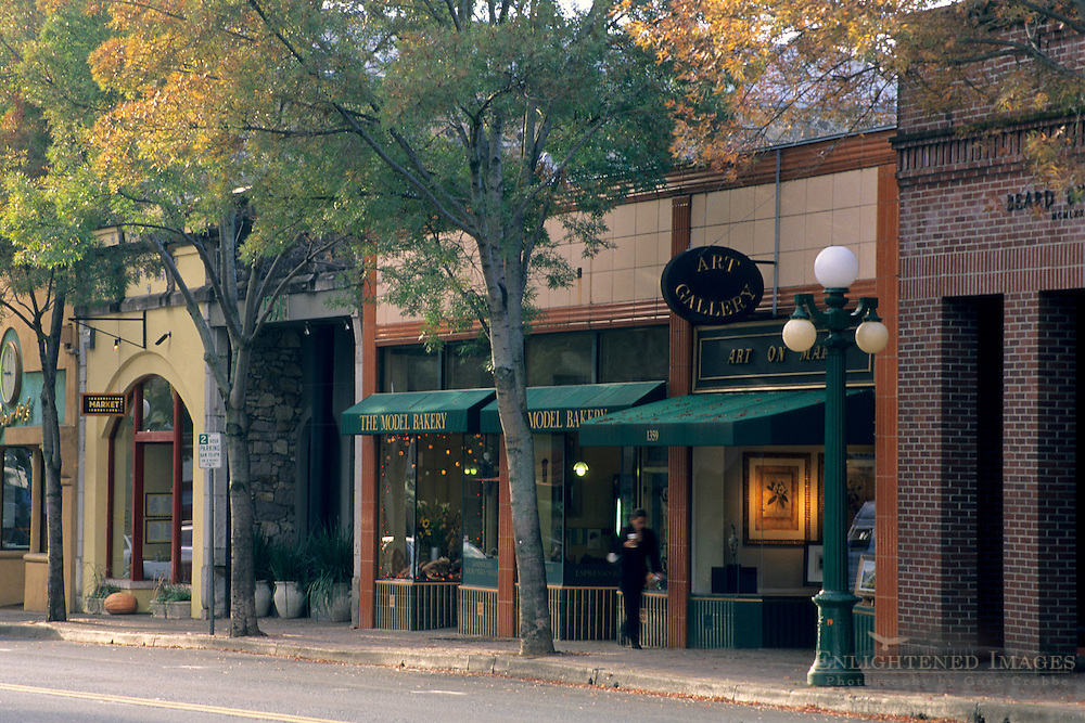 Shops in downtown St. Helena, Napa Valley, Napa County, California