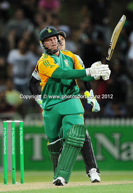 South Africa's Richard Levi hits his 13th 6 during the 2nd InternationaI Twenty20 cricket match between New Zealand Black Caps and South Africa at Seddon Park, Hamilton, New Zealand on Sunday 19 February 2012. Photo: Andrew Cornaga/Photosport.co.nz