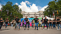 (c) 25/06/16, London, UK. Spanish dancers from London's Escuela de Baile and friends perform flashmob in Marble Arch  in defiance of Brexit gloom. Flashmob sponsored by Andalusia, partially funded by the EU. Photo credit: Carole Edrich