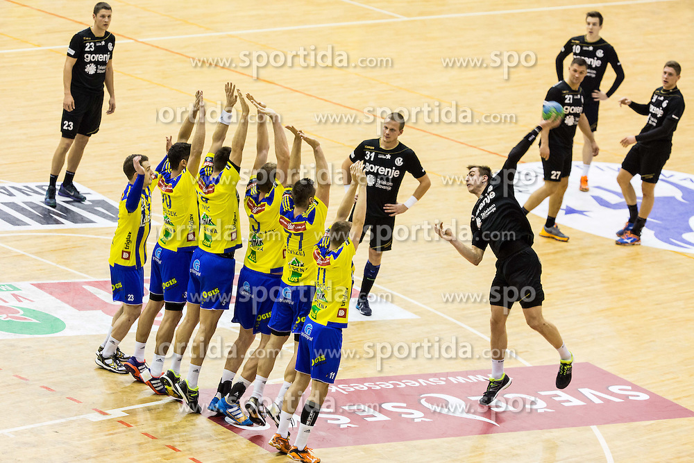 Nejc Cehte of RK Gorenje during handball match between RK Celje Pivovarna Lasko and RK Gorenje Velenje in Eighth Final Round of Slovenian Cup 2015/16, on December 10, 2015 in Arena Zlatorog, Celje, Slovenia. Photo by Vid Ponikvar / Sportida