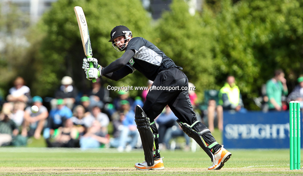 Martin Guptill plays onto the onside for the Black Caps.<br /> New Zealand v Zimbabwe, 1st ODI, 3 February 2012, University Oval, Dunedin, New Zealand.<br /> Photo: Rob Jefferies/PHOTOSPORT
