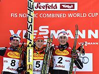 Kombinert<br /> FIS World Cup<br /> 16.01.2015<br /> Foto: Gepa/Digitalsport<br /> NORWAY ONLY<br /> <br /> SEEFELD - ØSTERRIKE<br /> <br /> FIS World Cup, Nordic Triple, Gundersen, men, award ceremony. Image shows Jan Schmid (NOR), Eric Frenzel (GER) and Jarl Magnus Riiber (NOR).
