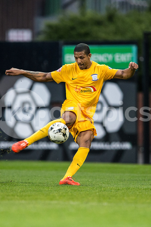 Preston North End's Jermaine Beckford opens the scoring during the Sky Bet League 1 match between Notts County and Preston North End at Meadow Lane, Nottingham, England on 21 April 2015. Photo by James Williamson.