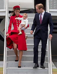 WELLINGTON- NEW ZEALAND-7-4-14: The Duke and Duchess of Cambridge, with Prince George arrive in New Zealand at the start of their Official Visit to New Zealand and Australia.<br /> Photograph by Ian Jones