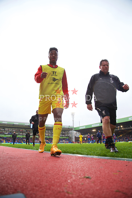 LONDON, ENGLAND - Sunday, November 23, 2014: Liverpool's Raheem Sterling before the Premier League match against Crystal Palace at Selhurst Park. (Pic by David Rawcliffe/Propaganda)