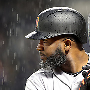 NEW YORK, NEW YORK - APRIL 29:  Denard Span #2 of the San Francisco Giants preparing to bat in the rain during the New York Mets Vs San Francisco Giants MLB regular season game at Citi Field on April 29, 2016 in New York City. (Photo by Tim Clayton/Corbis via Getty Images)