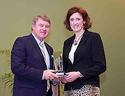 ACC Commissioner John D. Swofford presents former Boston College standout Carla Wenger Vicidomini with her Women's ACC Legends Award at the 2011 ACC Legends Banquette held at the Terrace Greensboro Coliseum Complex  in Greensboro, North Carolina.  (Photo by Mark W. Sutton)