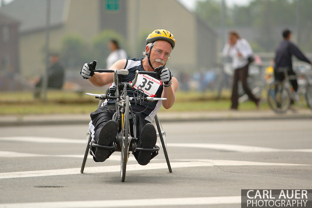 July 4th, 2006:  Anchorage, Alaska - Dennis Durrwachter (35), a Air Force veteran from St. Peters, Missouri, enters turn one of the 5k Handcycle event of the 26th National Veterans Wheelchair Games.