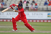 Lancashire Thunders Eve Jones during the Women's Cricket Super League match between Lancashire Thunder and Surrey Stars at the Emirates, Old Trafford, Manchester, United Kingdom on 7 August 2018.