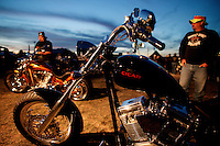 Harley Davidson bikers get a chance to check out custom bikes at the riders Ranch camp site at the Waukesha Expo Center Wednesday Aug. 27, 2003 Waukesha. Thousands of Harley Davidson bikers from all over the world came to Wisconsin to help celebrate Harley Davidson 100th anniversary.   photo by Darren Hauck