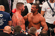 David Haye congratulates Tony Bellew at the O2 Arena, London, United Kingdom on 5 May 2018. Picture by Phil Duncan.