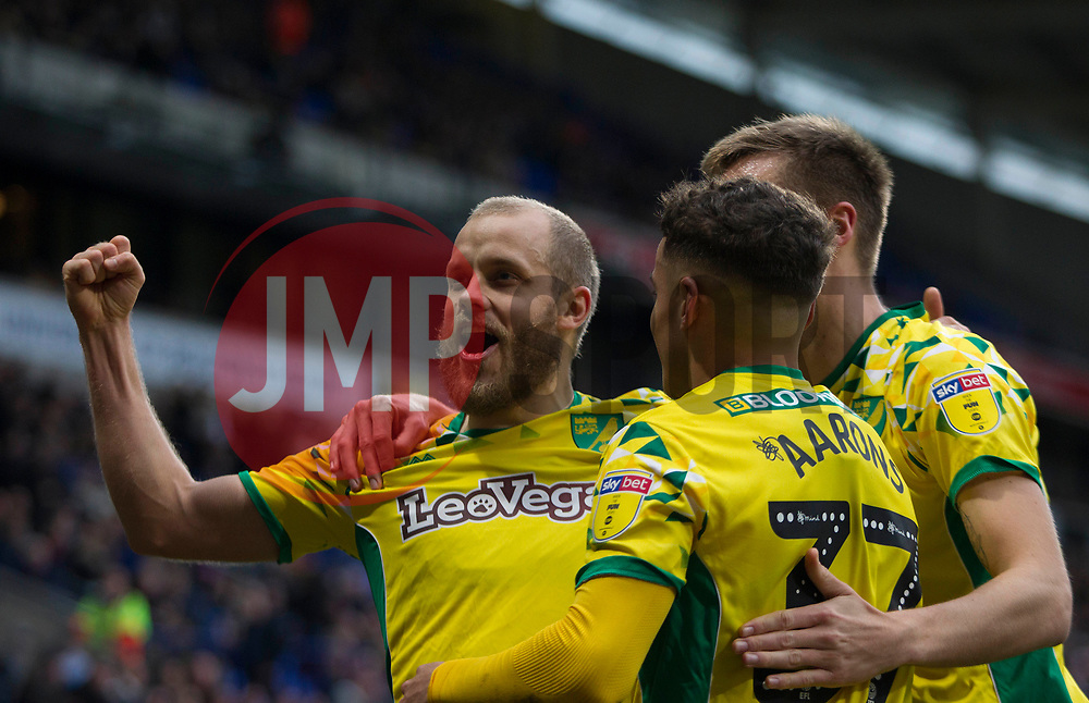 Teemu Pukki of Norwich City (L) celebrates after scoring his sides fourth goal - Mandatory by-line: Jack Phillips/JMP - 16/02/2019 - FOOTBALL - University of Bolton Stadium - Bolton, England - Bolton Wanderers v Norwich City - English Football League Championship