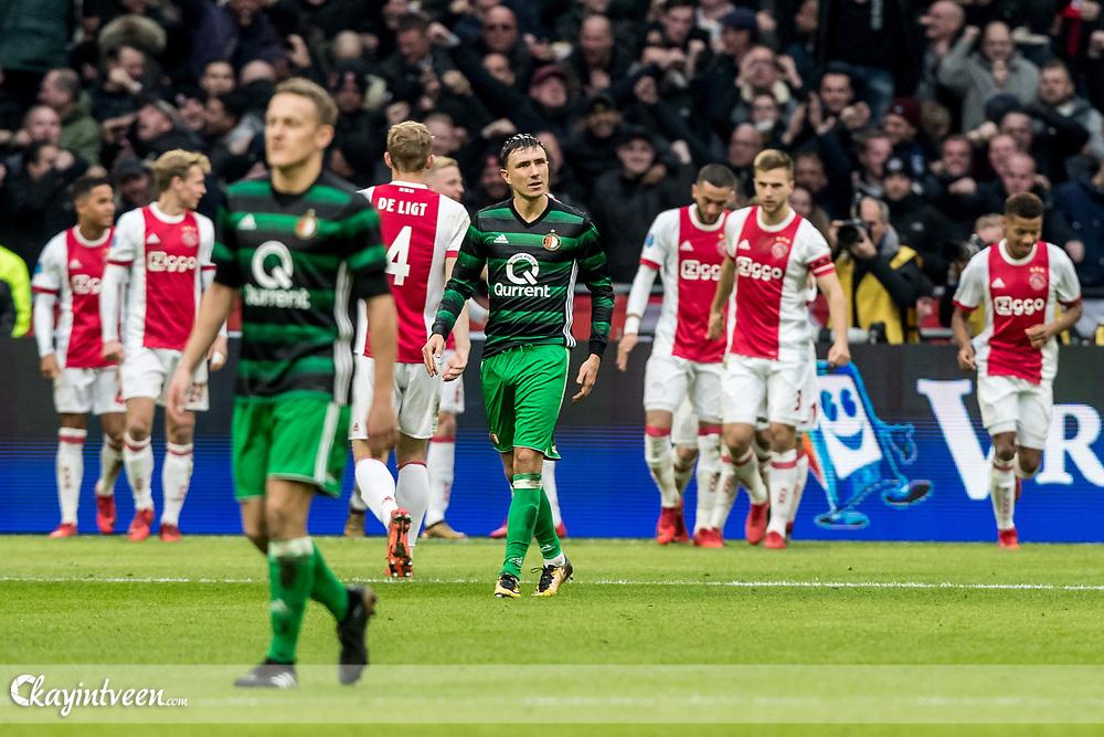 ROTTERDAM - Ajax - Feyenoord , Voetbal , Seizoen 2017/2018 , Eredivisie , Johan Cruijff ArenA , 21-01-2018 ,  De Klassieker , Feyenoord speler Steven Berghuis baalt van de 1-0
