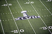 The Super Bowl XLVIII logo is painted on the field for the NFL Super Bowl XLVIII football game between the Seattle Seahawks and the Denver Broncos on Sunday, Feb. 2, 2014 in East Rutherford, N.J. The Seahawks won the game 43-8. ©Paul Anthony Spinelli