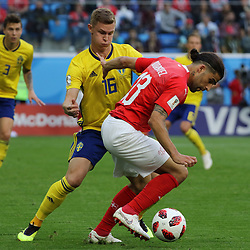 July 3, 2018 - Russia - July 03, 2018, St. Petersburg, FIFA World Cup 2018 Football, the playoff round. Football match of Sweden - Switzerland at the stadium of St. Petersburg. Player of the national team Emil Kraft; Ricardo Rodriguez. (Credit Image: © Russian Look via ZUMA Wire)
