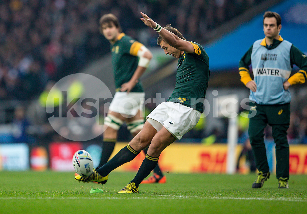 Handré Pollard of South Africa lots the penalty during the Rugby World Cup Semi Final match between South Africa and New Zealand played at Twickenham Stadium, London on the 24th of October 2015. Photo by Liam McAvoy