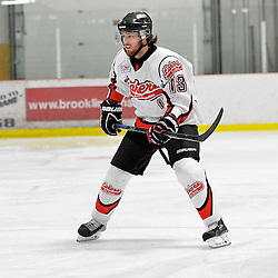 """FORT FRANCES, ON - Apr 30, 2015 : Central Canadian Junior """"A"""" Championship, game action between the Dryden GM Ice Dogs and the Fort Frances Lakers, game six of the Dudley Hewitt Cup. Nolan Ross #13 of the Fort Frances Lakers during the second period.<br /> (Photo by Shawn Muir / OJHL Images)"""