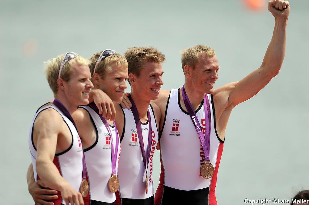 DK Caption:<br /> 20120802, London, England:<br /> Olympiske Lege - London 2012: <br /> Roning / rowing. Letv&aelig;gtsfireren / Guldfireren / Lightweight four LM4 vinder en  bronze medalje. Kasper Winther J&oslash;rgensen (DEN)(LM4), Morten J&oslash;rgensen (DEN) (LM4), Jacob Bars&oslash;e (DEN)(LM4), Eskild Ebbesen (DEN)(LM4)<br /> Foto: Lars M&oslash;ller<br /> <br /> UK Caption:<br /> 20120802, London, Great Britain:<br /> Olympic Games - London 2012:<br /> Roning / rowing. Letv&aelig;gtsfireren / Guldfireren / Lightweight four LM4 win a bronzemedal. Kasper Winther J&oslash;rgensen (DEN)(LM4), Morten J&oslash;rgensen (DEN) (LM4), Jacob Bars&oslash;e (DEN)(LM4), Eskild Ebbesen (DEN)(LM4)<br /> Photo: Lars Moeller