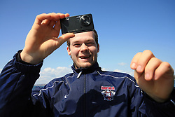 Andrej Hebar taking pictures at whale watching boat, when some guys of Slovenian Team were celebrating an anniversary of playing for the team, during IIHF WC 2008 in Halifax,  on May 07, 2008, sea at Halifax, Nova Scotia, Canada. (Photo by Vid Ponikvar / Sportal Images)