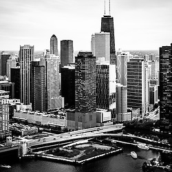 Chicago aerial picture of Streeterville in black and white including John Hancock Building, Lake Point Tower Condominium, and Lake Shoore Drive. Photo was taken in 2013.