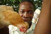 Southern Africa. Mozambique. .Young man selling chicken through taxi windows..DVD0014