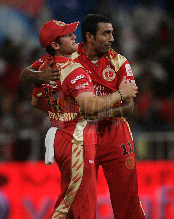 DURBAN, SOUTH AFRICA - 1 May 2009. Roelof van der Merwe and Robin Uthappa during the IPL Season 2 match between Kings X1 Punjab and the Royal Challengers Bangalore held at Sahara Stadium Kingsmead, Durban, South Africa..