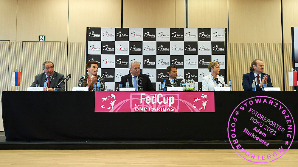 (L) The Russian Tennis Federation president Shamil Tarpischev and (2L) Magdalena Sroka - Vicepresident of City Cracow speaks and (C) President of the International Tennis Federation Francesco Ricci Bitti from Italy and (2R) Swiss ITF umpire Andreas Egli and (R) the Polish Tennis Federation president Jacek Muzolf during official draw one day before the Fed Cup / World Group 1st round tennis match between Poland and Russia at Holiday Inn on February 6, 2015 in Cracow, Poland.<br /> <br /> Poland, Cracow, February 6, 2015<br /> <br /> Picture also available in RAW (NEF) or TIFF format on special request.<br /> <br /> For editorial use only. Any commercial or promotional use requires permission.<br /> <br /> Adam Nurkiewicz declares that he has no rights to the image of people at the photographs of his authorship.<br /> <br /> Mandatory credit:<br /> Photo by &copy; Adam Nurkiewicz / Mediasport