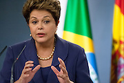 Brazil's president Dilma Rousseff answer a question in press conference