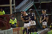 23rd December 2017, Fir Park, Motherwell, Dundee; Scottish Premier League football, Motherwell versus Dundee; Dundee's Paul McGowan is congratulated after scoring for 1-0