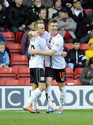 Milton Keynes Dons' Ben Reeves celebrates his goal with Milton Keynes Dons' Chris Long - Photo mandatory by-line: Joe Meredith/JMP - Tel: Mobile: 07966 386802 18/01/2014 - SPORT - FOOTBALL - Ashton Gate - Bristol - Bristol City v MK Dons - Sky Bet League One