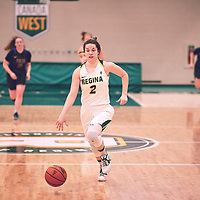 4th year guard, Michaela Kleisinger (2) of the Regina Cougars of the Regina Cougars during the Women's Basketball Home Game on Thu Feb 14 at Centre for Kinesiology,Health and Sport. Credit: Arthur Ward/Arthur Images
