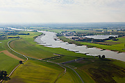 Nederland, Gelderland, Gemeente Westervoort, 03-10-2010; Rivier de Rijn, Hondsbroeksche Pleij. In de uiterwaard is in het kader van Ruimte voor de Rivier de dijk landinwaarts verlegd, rechts van de dijk de hoogwatergeul voor de Rijn. onder in beeld het regelwerk..Head of the IJssel, river Rhine. Room for the River: in the floodplain the dike has moved inland, creating a flood channel (right of the new dike). Bottom: the control works that will regulate the distribution of water..luchtfoto (toeslag), aerial photo (additional fee required).foto/photo Siebe Swart