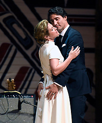 Prime Minister Justin Trudeau and his wife Sophie Gregoire Trudeau joke on stage during the annual Press Gallery Dinner at the Canadian Museum of History on Saturday, June 4, 2016 in Gatineau, Quebec. Photo by Justin Tang/The Canadian Press/ABACAPRESS.COM    550268_001 Gatineau Canada