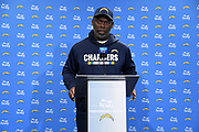 Dec 21, 2017; Costa Mesa, CA, USA; Los Angeles Chargers cornerback Casey Hayward addresses the media at a press conference at the Hoag Performance Center.