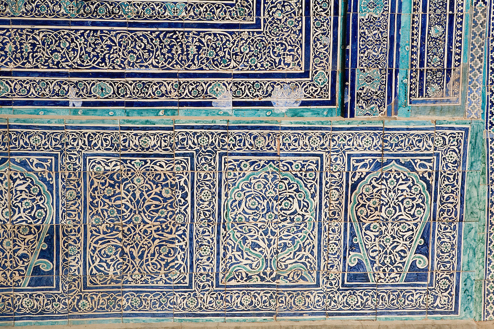 Detail of tilework at Summer mosque within Ark complex, Khiva