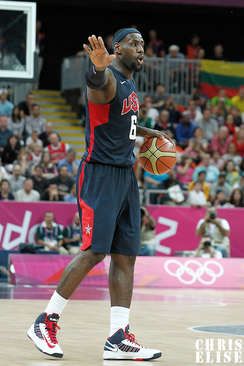 04 August 2012: USA LeBron James sets a play during 99-94 Team USA victory over Team Lithuania, during the men's basketball preliminary, at the Basketball Arena, in London, Great Britain.