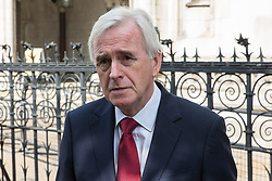 London, UK. 1st May, 2019. Shadow Chancellor John McDonnell, also Labour MP for Hayes and Harlington, is interviewed outside the Royal Courts of Justice after the failure of a High Court challenge to the controversial plans to build a third runway at Heathrow airport. Judicial reviews of the Government's decision to approve the plans had been brought by five councils, residents, environmental charities including Greenpeace, Friends of the Earth and Plan B and London Mayor Sadiq Khan.