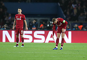 Jordan Henderson of Liverpool disappointed during the Champions League group stage match between Paris Saint-Germain and Liverpool at Parc des Princes, Paris, France on 28 November 2018.